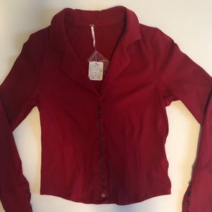 Free People Tops - Free People Red/Rouge Button Down Shirt